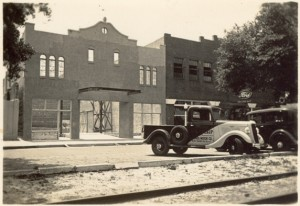 Garden Theatre under construction 1935 with car